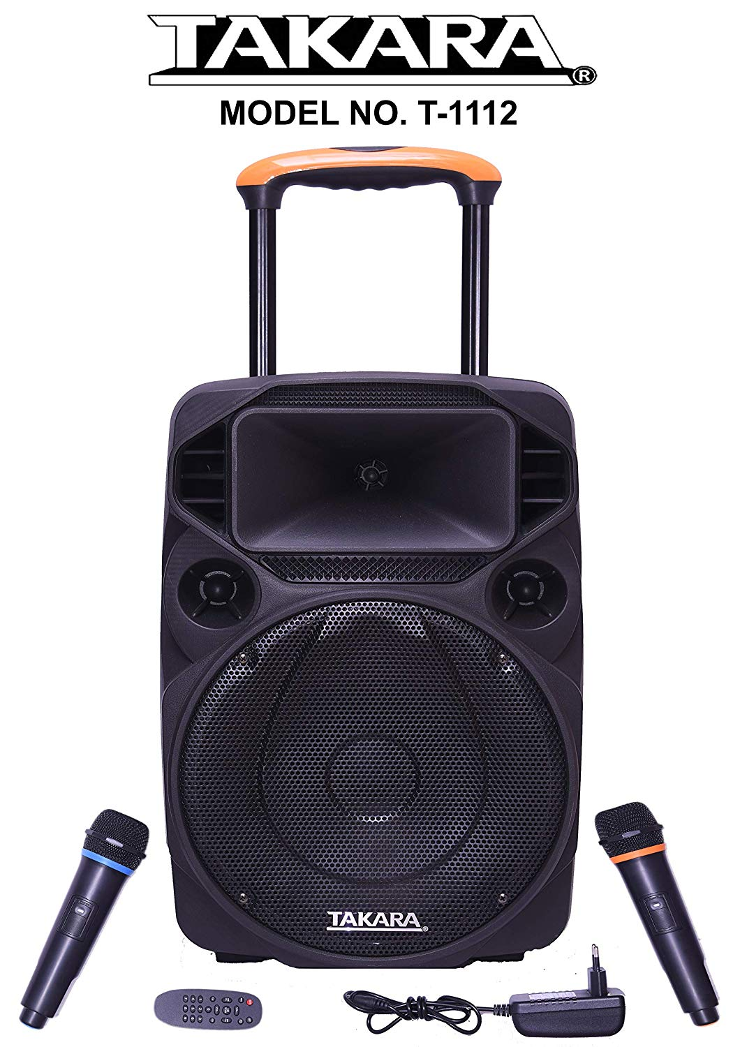 TAKARA T-1112 Portable Trolley Speaker 12 Inch Multimedia BT, Karaoke with Audio Recording, USB, SD,FM PA System with 2 Wireless Mic Upto 28% Discount